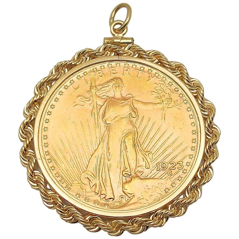 Gold US 1923 $20 Coin Pendant For Sale