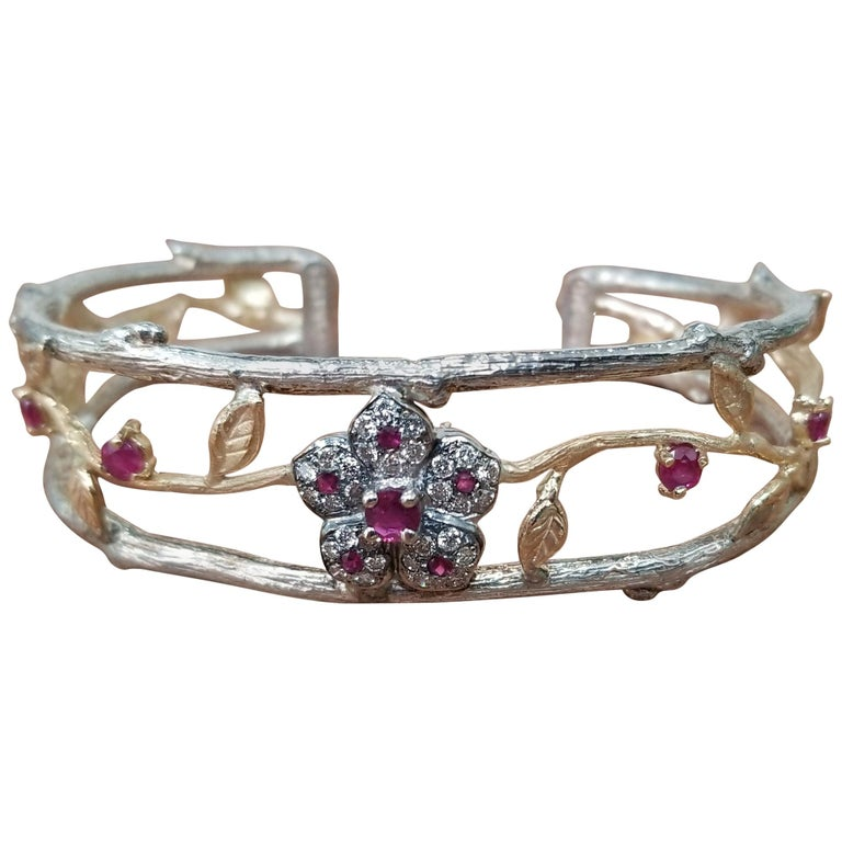 14 Karat Yellow Gold and Silver Ruby and Diamond Cuff