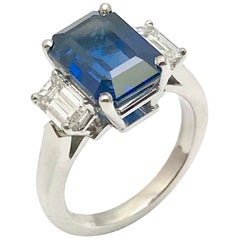 6.37 Carat Emerald Cut Natural Sapphire and Diamond Platinum Ring