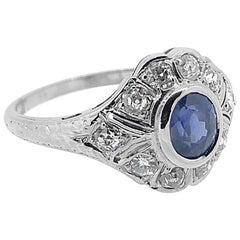 Art Deco 1.00 Carat Diamond and 1.00 Carat T.W. Sapphire Antique Engagement Ring