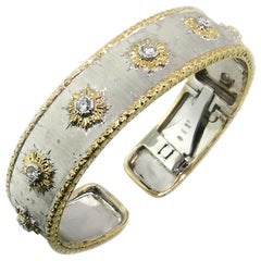 Diamond and 18 Karat Gold Florentine Engraved Cuff Bracelet, Made in Italy