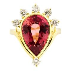 Pink Sapphire Tiara Diamond Ring