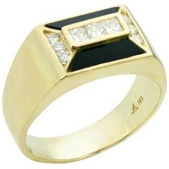 Diamond Black Onyx Yellow Gold Geometric Ring