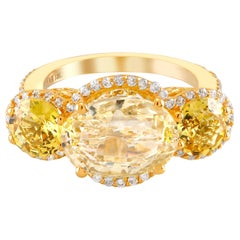 Yellow Sapphire Diamond Cocktail Ring Weighing 9.78 Carat GIA Natural No Heat