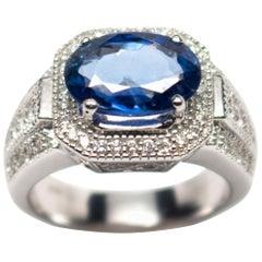 Egl Certified 18 Karat White Gold 3.70 Carat Sapphire 0.76 Diamond Ring