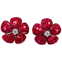 18K White godl Ruby and diamond invisible Stud Earrings