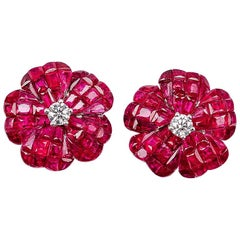 18 white gold flower Ruby invisible Stud Earrings