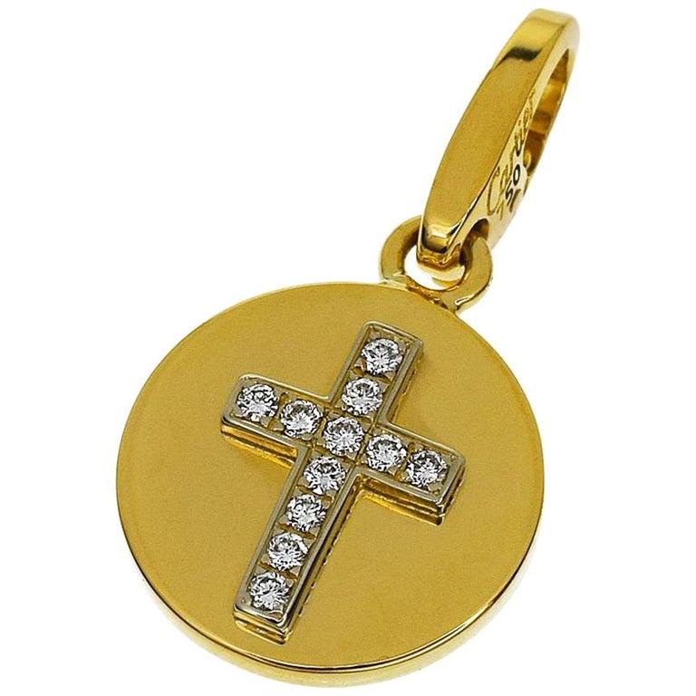 Cartier Diamonds 18 Karat Yellow Gold Cross-Medal Charm