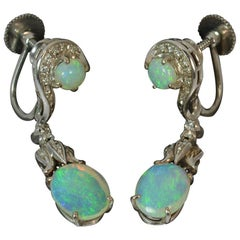 Victorian Design 18 Carat Gold Opal and Diamond Dangle Earrings