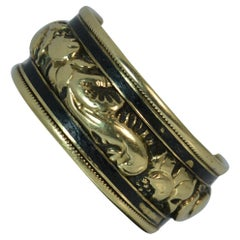 George IV 18 Carat Gold and Enamel Mourning Band Stack Ring