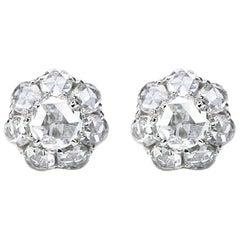Studio Rêves 18K White Gold Rose cut Stud Earrings