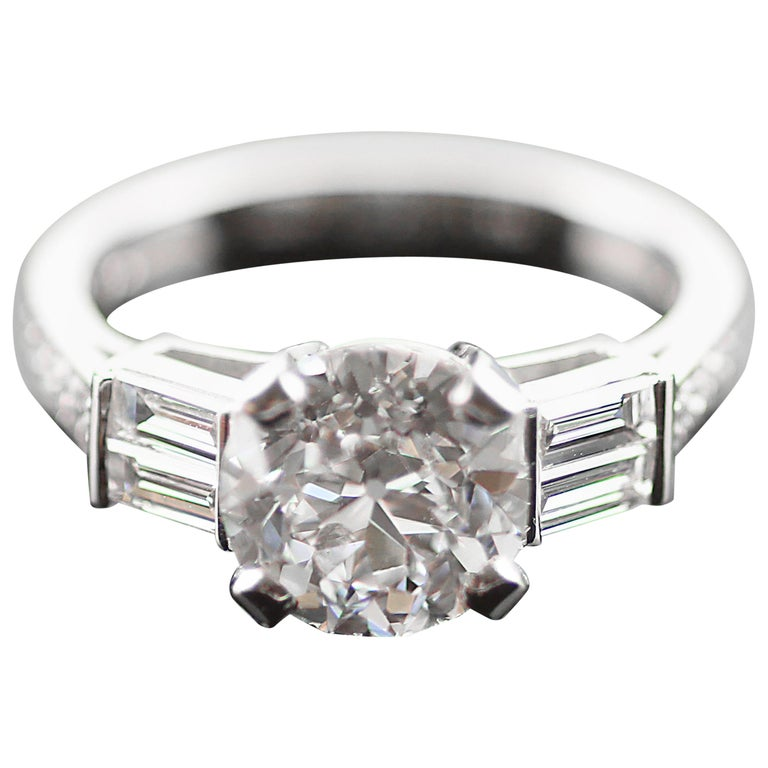 Certified Single Stone Solitaire Old European Cut Diamond 2.37 ct F VS2 Ring