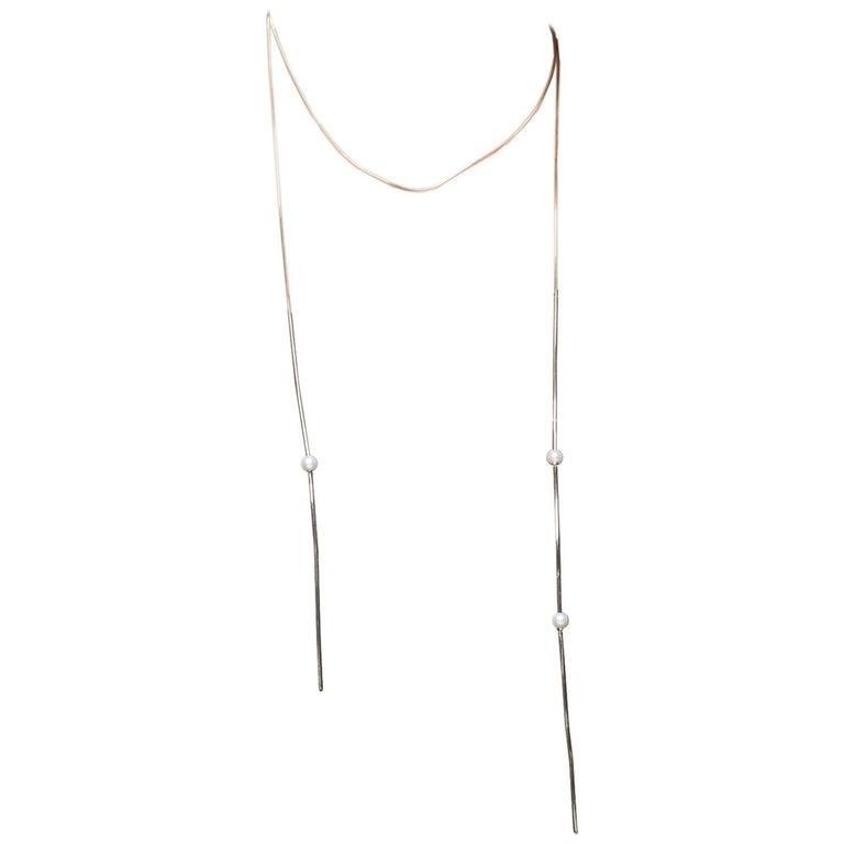 Iosselliani Fine 9 Karat Gold Wired Choker and Freshwater Pearls