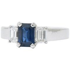 1.10 Carat Sapphire Diamond Platinum Alternative Engagement Ring