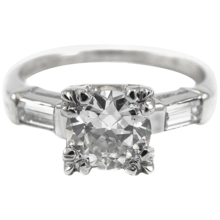 0.91 Carat Old European Cut GIA Certified Diamond Platinum Engagement Ring