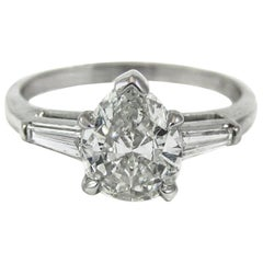 1 Carat GIA Certified Pear Shape Diamond Platinum Engagement Ring
