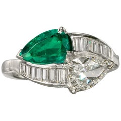 1.91 Carat Pear Shape Emerald and Diamond Bypass Platinum Ring GIA