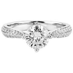 GIA Certified White Gold Engagement Ring, 1.24 Carat