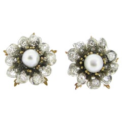 Antique Victorian GCS Report Natural Pearls and Old Cut Diamonds Flower Earrings