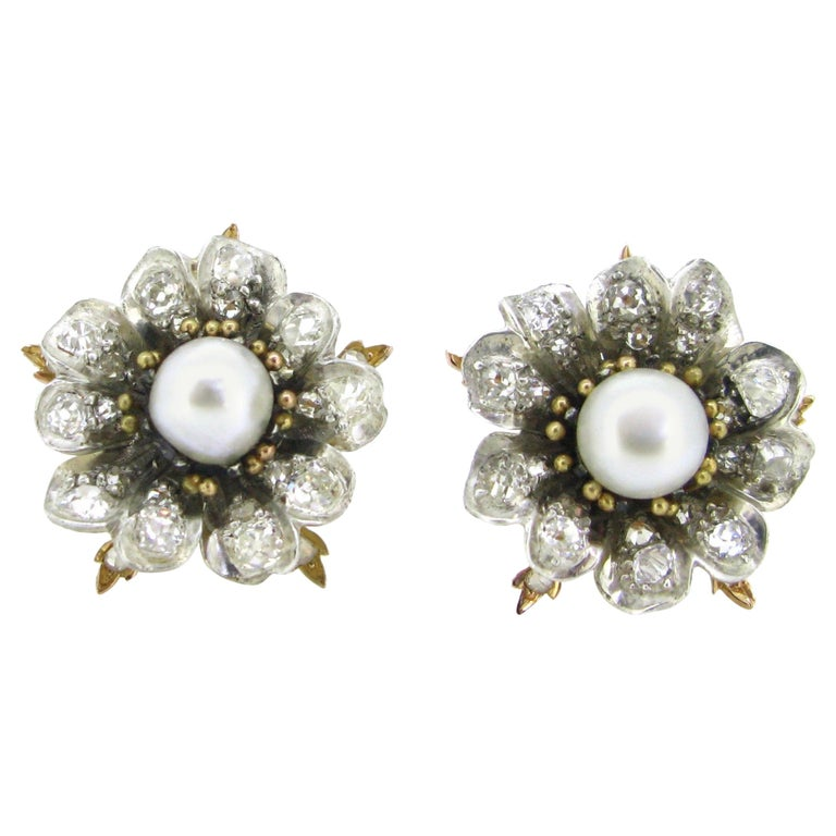 Antique Victorian GCS Report Natural Pearls and Old Cut Diamonds Flower Earrings For Sale