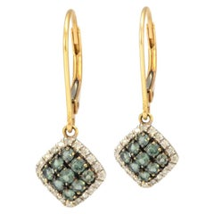 Solid 14 Karat Yellow Gold Diamond and Green Tourmaline Drop Earrings