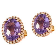 Solid 14 Karat Rose Gold Amethyst and Diamond Halo Style Stud Earrings