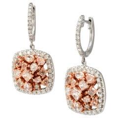 Solid 18 Karat Rose Gold Genuine Diamond Drop Earrings