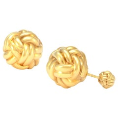 Solid 18 Karat Yellow Gold Braided Ball Earrings