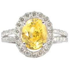 Genuine Yellow Sapphire and Natural Diamond Ring in Solid 18 Karat White Gold