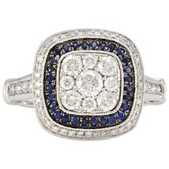 Solid 14 Karat White Gold Natural Diamond and Sapphire Cluster Ring
