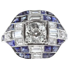 Platinum Diamond and Sapphire Cocktail Ring 'Art Deco Style'