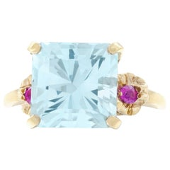 Retro 1950s Aquamarine and Ruby Set Gold Ring