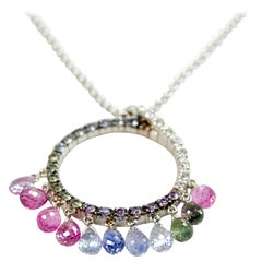 White Gold and Briolette multicolored Sapphires Neck Charm