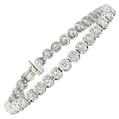Solid 18 Karat White Gold Genuine Diamond Tennis Bracelet 3.50 Carat