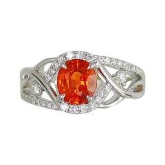 Frederic Sage 2.24 Carat Orange Sapphire and Diamond One of Kind Ring