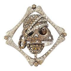 Solid 18 Karat White Gold Natural Diamond Skull Ring
