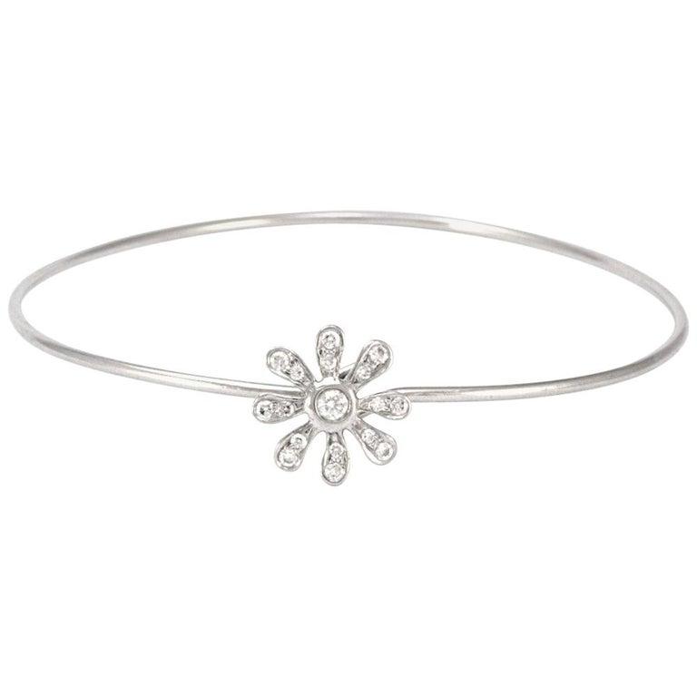 100% Authentic Tiffany & Co. Paloma Picasso Platinum Diamond Daisy Bangle