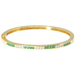 100% Authentic Tiffany & Co. Solid 18 Karat Gold Emerald and Diamond Bangle