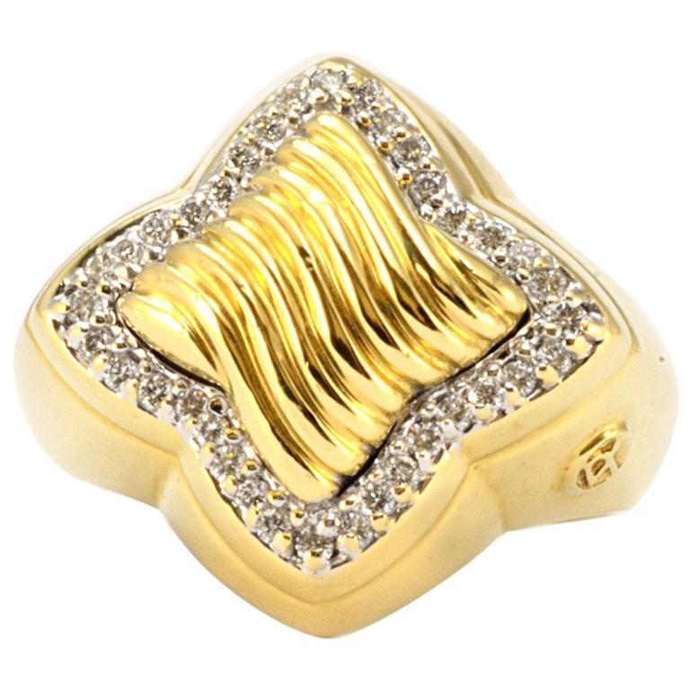 100% Authentic David Yurman 18 Karat Yellow Gold Natural Diamond Ring