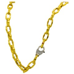 18 Karat Yellow Roberto Coin Link Chain .50 Carat Diamond Lobster Clasp