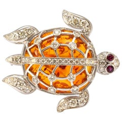 Solid 18 Karat Gold Amber, Genuine Diamond and Natural Ruby Turtle Pendant/Pin
