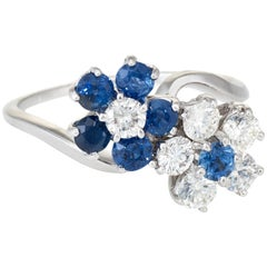 Toi et Moi Sapphire Diamond Cluster Flower Ring Estate 14 Karat Gold, Vintage