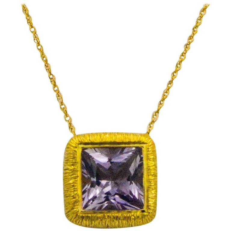 8.98 Carat Square Brilliant Cut Lavendar Amethyst 18 Karat Yellow Gold Necklace