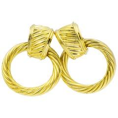 14 Karat Yellow Gold Door Knocker Hoop Earrings