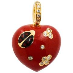 Aaron Basha Red Enamal Heart 14 Karat Yellow Gold .14 Carat Diamond Charm