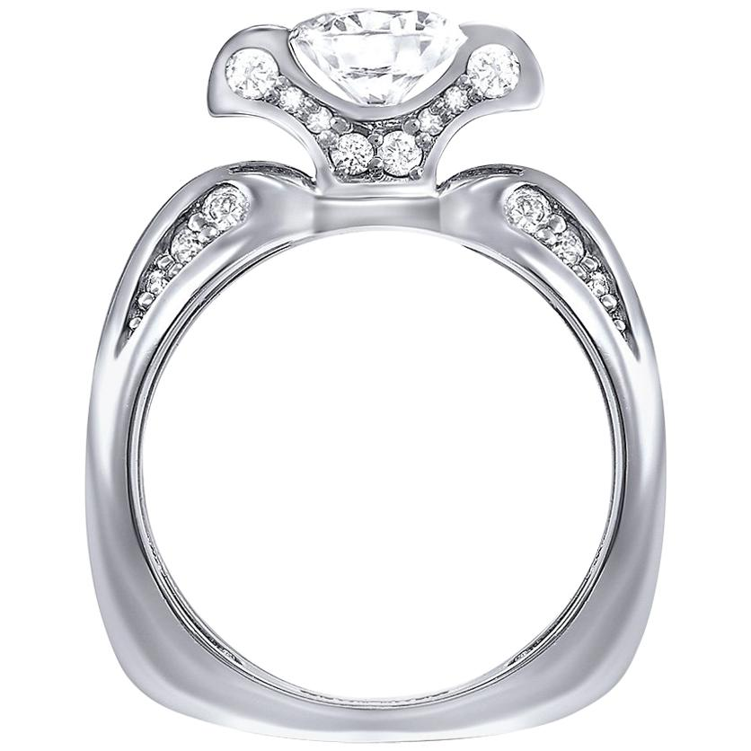 Alex Soldier Lily Diamond Platinum Engagement Wedding Cocktail Ring For Sale