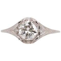 1930s 1.01 Carat Diamond and Platinum Engagement Ring