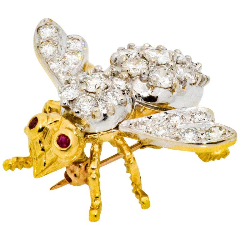 Herbert Rosenthal 18 Karat Yellow/White Gold 5.00 Carat Diamond Bee Brooch