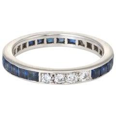 Sapphire Diamond Eternity Ring Platinum Vintage Fine Estate Jewelry