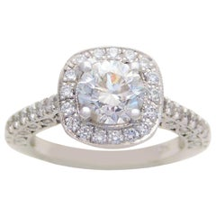 Custom 1.54 Carat Ladies' Diamond Halo Engagement Ring
